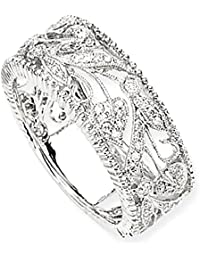 ICE CARATS 14k White Gold Diamond Band Ring Fine Jewelry Gift Set For Women Heart