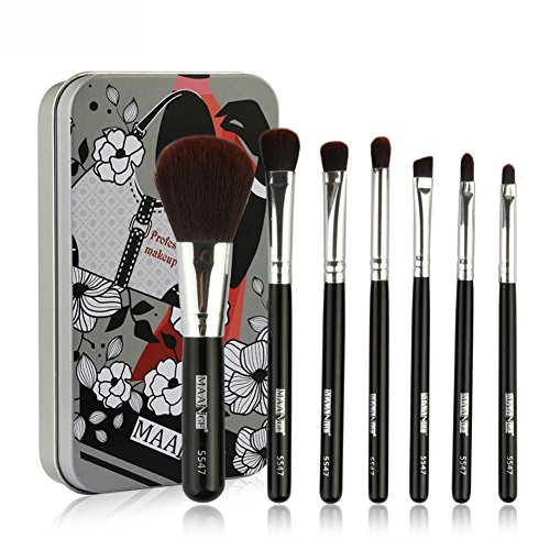 starter Makeup Brush Set - 7 STÜCKE pro Set Tragbare Eisenbox Makeup Brush Lidschattenpinsel Makeup...