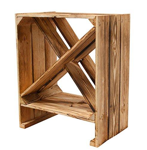 3er Set - Weinregal aus Holz 'geflammt' 50x40x27cm