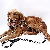 Daorier Colliers et Laisse éducative pour chien, Réfléchissant Colliers harnais et laisses en nylon pour animal domestique, Corde de formation pour chiens extrêmement Larges size L (Noir)
