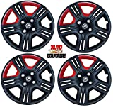 Hotwheelz Sporty Twin Color 14-inch Wheel Cover with Rings (Black and Red) -Set
