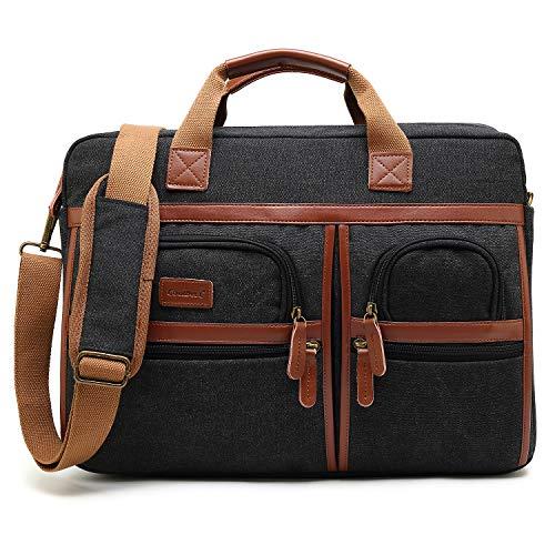 Laptop Aktentasche CoolBELL 17 Zoll schützend Messenger Bag Umhängetasche Herren Businesstasche Arbeitstasche Notebook Schultertasche Multifunktional Handtasche Laptoptasche für Macbook,Canvas Schwarz