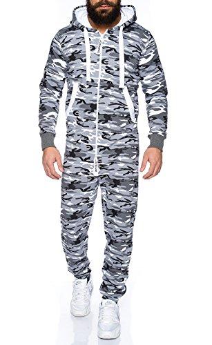 Lorenzo Loren Herren Jumpsuit [LL-204C Camouflage Schwarz Weiß L]