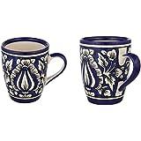 Clay Art Blue Pottery Ceramic Mug (300 Ml, Pack Of 2)