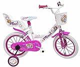 Denver Bike - Vélo Micol 14 pouces fille avec panier, siège poupée et roulettes amovibles