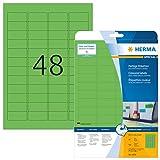 Herma 4369 Etiketten farbig, ablösbar (45,7 x 21,2 mm auf DIN A4 Papier matt) 960 Stück auf 20 Blatt, grün, bedruckbar, selbstklebend