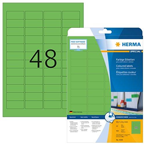 Herma 4369 Farbetiketten ablösbar, grün (45,7 x 21,2 mm) 960 Aufkleber, 20 Blatt DIN A4 Papier matt, bedruckbar, selbstklebend