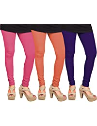 CAY 100% Cotton Combo of Purple, Orange and Baby Pink Color Plain, Stylish & Most Comfortable Leggings For Girls & Women with Full Length (SIZE : Free Size)