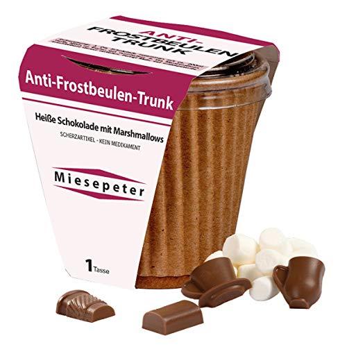 Anti-Frostbeulen Trunk - Heisse Schokolade zum Selbermachen - Süße Trinkschokolade im Becher mit 25 gr Schokodrops, Mini-Marshmallows - DIY Mini Kakao Geschenk (Schoko-Vollmilch)