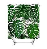 LB Tropische exotische Palmblätter Duschvorhang, grün weiß Bad Vorhänge wasserdicht wasserdicht Polyester Stoff Wohnaccessoires mit Haken 150W * 180H cm