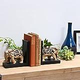 Urban Trends 80145-ast Kunstharz Sortiment von zwei Glasur Finish Elefant Figur mit Ausschnitt Design Buchstütze, champagner