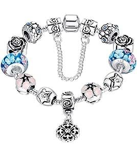 FLORAY Bracciale per le ragazze Blu Bead, Fiori Charm , Lunghezza: 20 cm