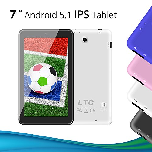 LeaningTech 7 Zoll Android 5.1 Google Tablet PC 8GB WiFi Quad Core IPS Display Dual Kamera Capacitive Touch Screen Allwinner A33 DDR3 1.3GHz tablett PC Pad auch für Kinder Weiß