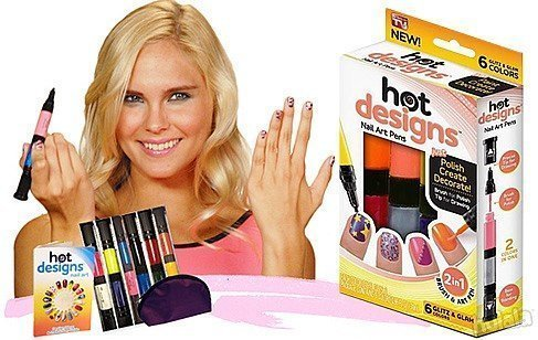 Techsun Hot Designs 2 in 1 Nail Art Polish Pens With 6 Glitz, Multicolor