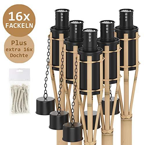 Panteer ® 16 Gartenfackeln mit Windschutz, Feuerlöschkappe und 16 zusätzliche Dochte für stimmungsvolle Garten Partys oder feierliche Adventsbeleuchtungen - Öl Fackeln aus Bambus - 90 cm hoch