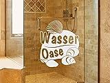 GRAZDesign 980204_40 Fenstertattoo Schriftzug Wasser Oase mit Muscheln | Fensteraufkleber fürs Bad - Glastattoo für Dusche (48x40cm)