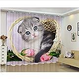 WKJHDFGB Camera da Letto per Bambini Blackout Kitten 3D Tende per Finestra per Soggiorno Dimensione Personalizzata Copre Cortina Rideaux Cushion Cover H215Xw260Cm