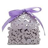LEORX 20pcs Fiesta de la boda rosas flores Laser regalo caramelo caja favorece la caja (púrpura)