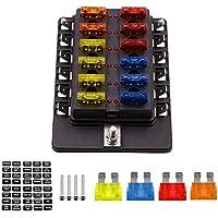 TurnRaise Caja de Fusibles 12 Vías Portafusibles con Lámpara de Alerta LED Kit para Coche Barco