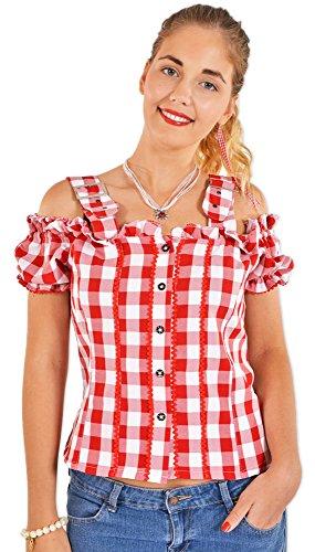 Trachtenbluse Mandy Rot Gr. 42 - Schöne Karo Bluse im Carmen Stil für Damen zur Tracht -