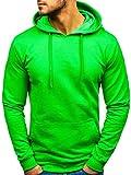 BOLF Homme Sweatshirt avec Capuche Hoodie À Enfiler Hiver Poche Kangourou Sportif 5361 Vert Clair L [1A1]
