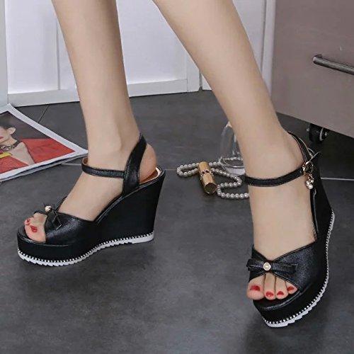 Lgk & fa estate sandali pendenza tacchi Cool stivali da donna impermeabile toe scarpe casual suola spessa muffin Black