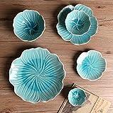 HANLEILE Qualitäts-Keramikgeschirr kreative Romantische Narzissen Fach Keramik Reis-Schüssel Gewürz Dish Küche Geschirr, Set A