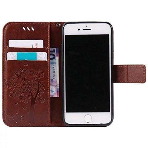 DaYiYang Case Cover IPhone 7 Fall, geprägte Blumen Katze und Baum-Kasten, Normallack PU-lederner Fall-Silikon-Abdeckungs-Wallet-Standplatz mit Handbügel für iPhone 7 ( Color : Rose ) Brown