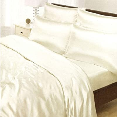 Cream Satin Single Duvet Cover, Fitted Sheet and 2 Pillowcases Bedding Set