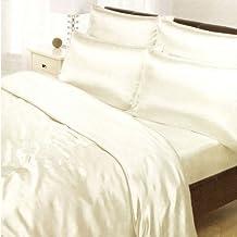 Crema de satén individual Tamaño Funda nórdica, sábana bajera y 2 fundas de almohada Ropa de cama