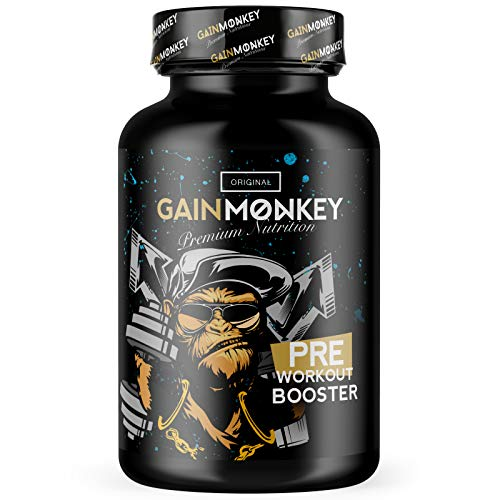 Original GAINMONKEY PRE WORKOUT BOOSTER Extreme | 100 Kapseln hochdosiert ohne Crash | Sehr Beliebt bei Hardcore Bodybuildern | Trainingsbooster | Fokus Pillen | Booster Fitness Gain-booster