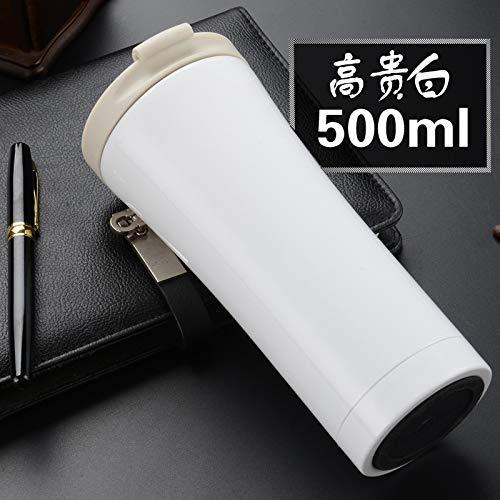 YPWSZ Vakuumflasche_304 Edelstahl Auto kaffeetasse tragbare vakuumflasche isolationsschale, edelweiß, 500ml