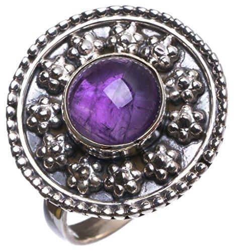 stargems (TM) Natürliche Amethyst Handgefertigt Indian 925Sterling Silber Ring, US Größe t7152 Größe 10 Ring-amethyst