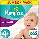 Pampers Premium Protection Active Fit Gr. 4+ (Maxi Plus) 9-18 kg, Jumbo Plus Pack 62 Windeln, 1er Pack (1 x 62 Stück)