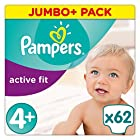Pampers - Active Fit - Couches Taille 4+ (9-18 kg) - Jumbo+ Pack (x62 couches)
