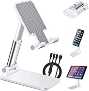 HULPPRE Cell Phone Holder Stand for Desk, Foldable for Tablet Ipad Holder Stand, Angle&Height Adjustable M