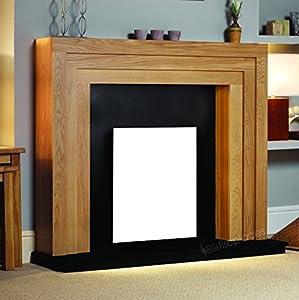 "Electric Oak Wood Surround Mantel Black Hearth Flat Wall Modern Fire Fireplace Suite 48"""