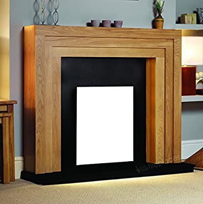 Electric Oak Wood Surround Mantel Black Hearth Flat Wall Modern Fire Fireplace Suite 48""
