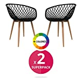Stuhl Bettbezug (Pack 2)-Stuhl Stuhl Scandi Nordic Skandinavien inspiriert Sessel Eames-Saga-(wählen Sie Ihre Farbe) Schwarz