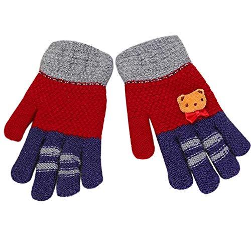 Quaan-Kind Kinder Warm Fäustlinge Handschuhe, Mädchen Jungs Winter Karikatur Bär Patchwork Handschuhe