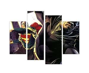 Pop Art Impressions sur toile mur Art Iconic DC Comics Heroes Superman Vs Batman Punch photo Home Décor imprimé de décoration Photos 4Panneau 88,9cm 90cm Large/71,1cm 71cm de haut extra large Art Moderne