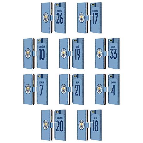 Officiel Manchester City Man City FC 2018/19 Joueurs Kit Domestique Groupe 1 Étui Coque De Livre en Cuir pour Huawei Téléphones