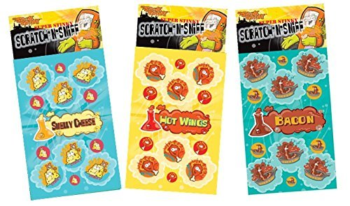 N Sniff Stickers 3-Pack- Bacon, Hot Wings, Smelly Cheese 81 Stickers ()