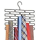 mDesign Krawattenhalter - Edler Krawattenbügel für mindestens 23 Krawatten - Praktisches Kleiderschrankzubehör für platzsparende Krawattenaufbewahrung - bronzefarben