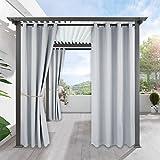PONY DANCE Vorhänge Verdunklung Balkon - Grau-Weiß Vorhang Blickdicht Anti-Mehltau Anti-Verblassen Fenstergardinen draußen drinnen Ösenschals, 1 Stück 240 x 132 cm (H x B)