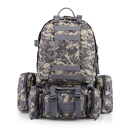 Imagen de g4free 50l paquete de asalto de 3 d¨ªas  t¨¢ctica  militar  de camping  de trekking combinada con 3 bolsas de molle para excursionismo monta?ismo de monta?a