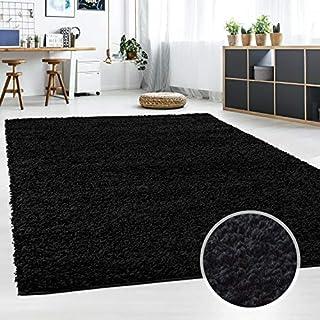 Hochflor Teppich | Shaggy Teppich fürs Wohnzimmer Modern & Flauschig | Läufer für Schlafzimmer, Esszimmer, Flur und Kinderzimmer | Langflor Carpet schwarz 120x120 cm rund