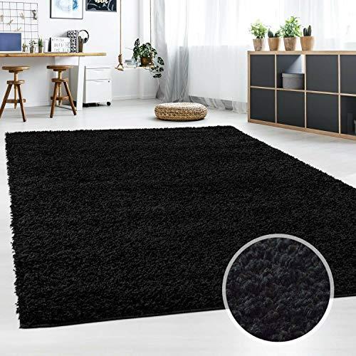 Hochflor Teppich | Shaggy Teppich fürs Wohnzimmer Modern & Flauschig | Läufer für Schlafzimmer, Esszimmer, Flur und Kinderzimmer | Langflor Carpet schwarz 080x150 cm -