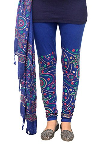 Fashion And Freedom Women\'s Blue Cotton Legging Dupatta Set