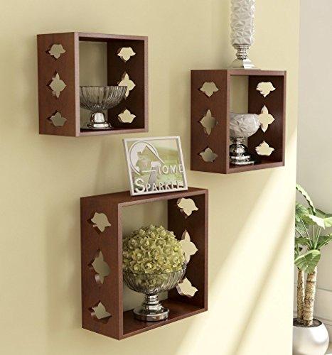 Home Sparkle Wall Shelf, Set of 3 (Lacquer Finish, Brown)
